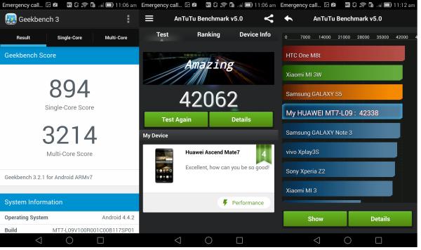 Huawei Ascend Mate 7 тестирование производительности